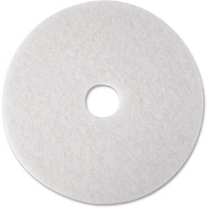 "3M Super Polish Pad - 12"" Diameter - 5 / Carton - Polyester Fiber - White"