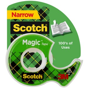 "Scotch Magic Tape with Handheld Dispenser - 0.5"" Width x 450"" Length - 1"" Core - Non-yellowing, Photo-safe, Writable Surface - Clear Dispenser Included - 1 Roll - Clear"