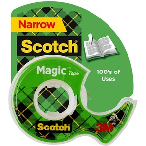 "Scotch Magic Tape with Handheld Dispenser - 0.75"" Width x 650"" Length - 1"" Core - Plastic - Photo-safe, Non-yellowing, Writable Surface - Clear Dispenser Included - 1 Roll - Clear"