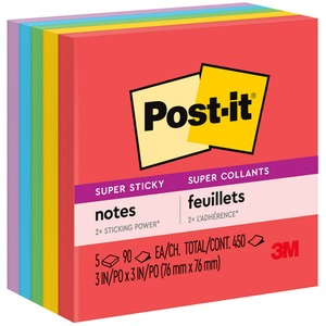 Post-it Super Sticky Neon Note - Self-adhesive - 3&quot; x 3&quot; - Assorted - Paper - 5 / Pack
