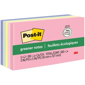 "Post-it Recycled Plain Note - Self-adhesive, Repositionable - 3"" x 5"" - Pastel Assorted - Paper - 5 / Pack"