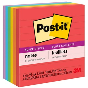 "Post-it Super Sticky Ruled Note - Self-adhesive - 4"" x 4"" - Neon Assorted - Paper - 6 / Pack"