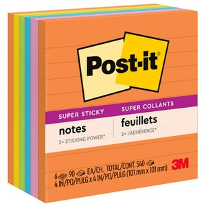 "Post-it Super Sticky Lined Note - Self-adhesive - 4"" x 4"" - Ultra Assorted - Paper - 6 / Pack"