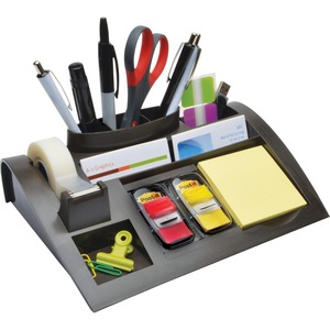 "3M Weighted Desktop Organizer - 3"" x 12"" x 8"" - 7 Compartment(s) - Plastic - Black"