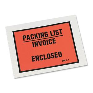 "3M F1-1000 Packing List/Invoice Enclosed Envelope - 5.5"" x 4.5"" - Self-sealing - Polypropylene - 1000 / Case - Orange"