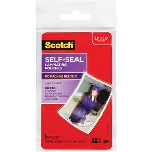 "3M Scotch Self-Sealing Laminating Pouche - 2.5"" Width x 3.5"" Length - Type G - Glossy - Acid-free - 6 / Pack - Clear"