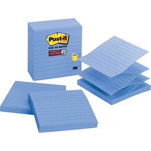 "Post-it Super Sticky Pop-up Note - Pop-up, Self-adhesive - 4"" x 4"" - Aqua - Paper - 5 / Pack"
