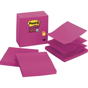 "Post-it Super Sticky Pop-up Note - Pop-up, Self-adhesive - 4"" x 4"" - Fuchsia - Paper - 5 / Pack"