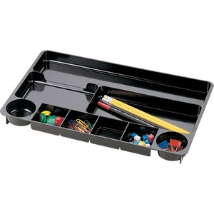 "OIC 9 Compartments Drawer Organizer Tray - 1.5"" x 16"" x 9"" - 9 Compartment(s) - Black"
