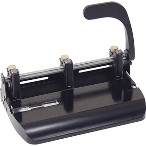 "OIC Heavy-Duty Adjustable Three-Hole Punch - 3 Punch Head(s) - Adjustable - 32 Sheet Capacity - 0.28"" - Black"