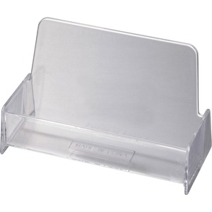 OIC Broad Base Business Card Holder - Plastic - 1 Each - Clear