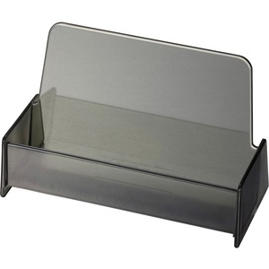 OIC Broad Base Business Card Holder - Plastic - 1 Each - Smoke