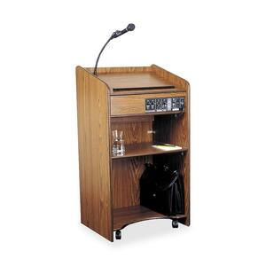 "Oklahoma Sound Aristocrat Podium Floor Lectern - Rectangle - 20"" x 25"" x 46"" - Wood - Medium Oak"