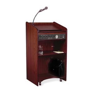"Oklahoma Sound Aristocrat Podium Floor Lectern - Rectangle - 20"" x 25"" x 46"" - Wood - Mahogany"