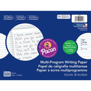 "Pacon Multi-Program Handwriting Papers - 500 Sheet(s) - Ruled - 8"" x 10.5"" - 1 Each - White"