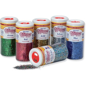 Pacon Spectra Glitter Sparkling Crystals - 4 oz - Assorted, Red, Green, Blue, Multicolor, Gold, Silver