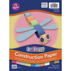 "Pacon Rainbow Super Value Construction Paper - 9"" x 12"" - Red, Blue, White, Orange, Green, Brown, Pink, Black, Yellow"