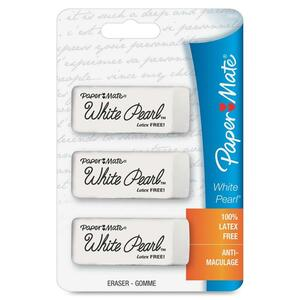 Paper Mate White Pearl Latex Free Eraser - Lead Pencil Eraser - Latex-free, Smudge Resistant - 3 / Card - White