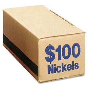 PM SecurIT $100 Coin Box (Nickels) - Cardboard - Blue