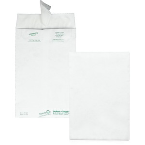 "Quality Park Open-End Envelope - #1 (6"" x 9"") - 14lb - Self-sealing - Tyvek - 100 / Box - White"