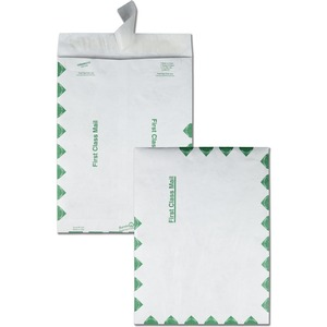 "Quality Park Survivor First Class Envelopes - #12 1/2 (9.5"" x 12.5"") - 14lb - Self-sealing - Tyvek - 100 / Box - White"