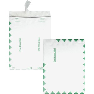 "Quality Park Survivor First Class Envelopes - #13 1/2 (10"" x 13"") - 14lb - Self-sealing - Tyvek - 100 / Box - White"