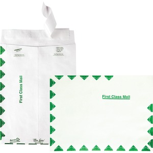 "Quality Park Leather Tyvek First Class Envelope - 9"" x 12"" - 14lb - Self-sealing - Tyvek - 100 / Box - White"