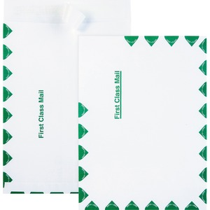 "Quality Park Ship-Lite First Class Envelope - 9"" x 12"" - Self-sealing - 100 / Box - White"