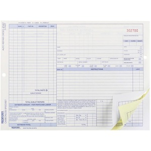 "Rediform Auto Repair Order Form - 3 Part - Carbonless - 8.5"" x 11"" Sheet Size - Assorted - 50 / Pack"