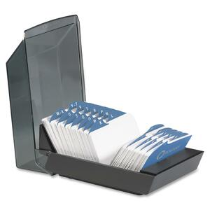 Rolodex VIP Transparent Cover Card File - 500 Address Card - 24 Printed - Black