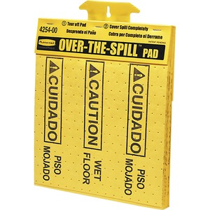"Rubbermaid Over-The-Spill Caution Pad Tablet - ""Wet Floor"" Preprinted - 14"" x 16.5"" - Polypropylene - Yellow"