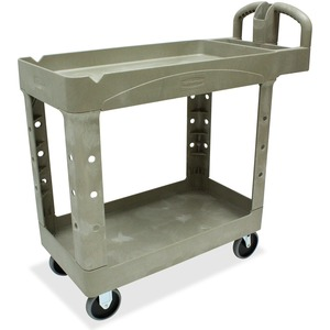 "Rubbermaid Two Shelf Service Cart - 2 Shelf - 500 lb Capacity - 4 x 5"" Caster - 39.5"" x 18"" x 33"" - Beige"