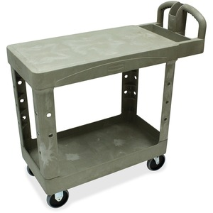 "Rubbermaid Flat Shelf Utility Cart - 2 Shelf - 500 lb Capacity - 4 x 5"" Caster - 19"" x 38"" x 33"" - Beige"