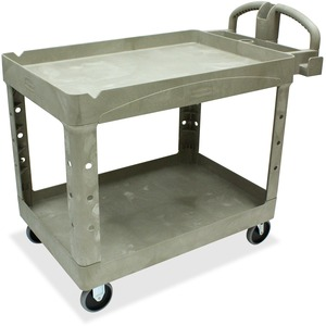 "Rubbermaid Two Shelf Service Cart - 2 Shelf - 500 lb Capacity - 4 x 5"" Caster - Plastic - 45"" x 26"" x 33"" - Beige"