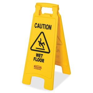 "Rubbermaid Caution Wet Floor Safety Sign - ""Wet Floor"" Preprinted - Red, Black, Yellow"