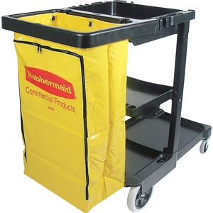 "Rubbermaid Janitor Cart With Zipper Yellow Vinyl Bag - 3 Shelf - 32 gal, 25 gal - 4"", 8"" Caster - 21.75"" x 46"" x 38"" - Black"