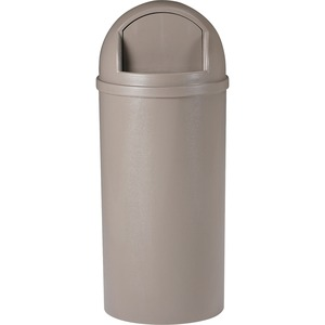 "Rubbermaid Marshal Waste Container - 57L Capacity - Round - 15.37"" Opening Diameter - 36.5"" Height - Beige"