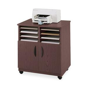 Safco 1851MH Mobile Machine Stand with Sorter - Wood - Mahogany