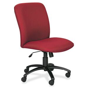 Safco Big & Tall Executive High-Back Chair - Black Frame - Foam Burgundy, Polyester Seat