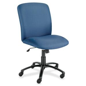 Safco Big & Tall Executive High-Back Chair - Black Frame - Foam Blue, Polyester Seat