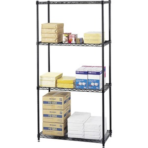 "Safco 5276BL Commercial Wire Shelving - 18"" x 72"" x 36"" - Steel - 4 x Shelf(ves) - Leveling Glide - Black"