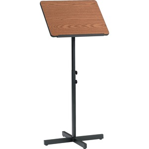 "Safco Adjustable Speaker Podiums - Square - 21"" x 21"" - Steel, Wood - Black Base, Medium Oak"