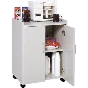 "Safco Mobile Refreshment Utility Cart - 1 Shelf - 200 lb Capacity - 4 x 2"" Caster - Wood - 18"" x 23"" x 31"" - Gray"