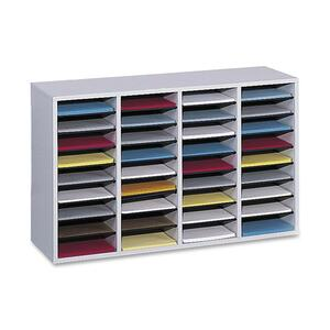 "Safco 36 Compartment Adjustable Shelves Literature Organizer - 24"" x 39"" x 11.75"" - 36 Compartment(s) - Wood - Gray"