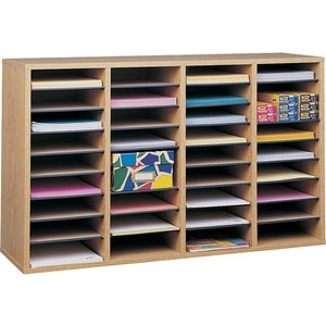 "Safco 36 Compartment Adjustable Shelves Literature Organizer - 24"" x 39"" x 11.75"" - 36 Compartment(s) - Wood - Medium Oak"