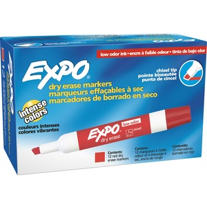 Expo Dry Erase Chisel Point Markers - Marker Point Style: Chisel - Ink Color: Red - 12 / Dozen