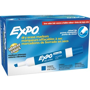 Expo Dry Erase Chisel Point Markers - Marker Point Style: Chisel - Ink Color: Blue - 12 / Dozen