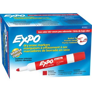Expo Dry Erase Markers - Marker Point Style: Bullet - Ink Color: Red - 12 / Dozen
