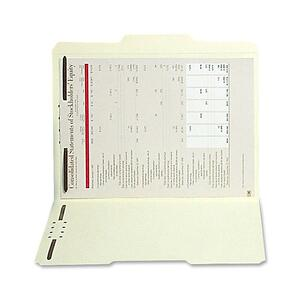 "SJ Paper Manila Reinforced Folder with Fasteners - Legal - 8.5"" x 14"" - 1/3 Tab Cut - 2 Fastener - 2"" Capacity - 50 / Box - 11pt. - Manila"