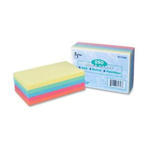 "SJ Paper Ruled Index Cards - 4"" x 6"" - 250 / Pack - Green, Salmon, Green, Cherry, Canary"